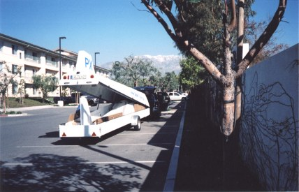 A glider trailer at a local hotel
