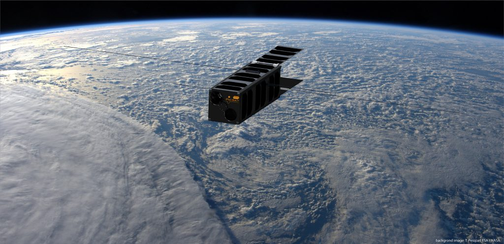 Artist's conception of PicSat nanosatellite in Earth orbit