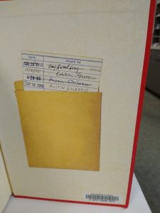 Inside the back cover of The Library Book is a picture of an old-fashioned checkout slip pocket.